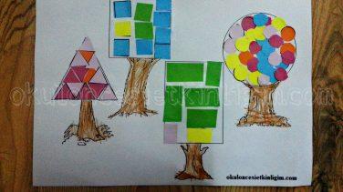 şekiller Ağacı Matematik Etkinliği Okul öncesi Etkinlikleri