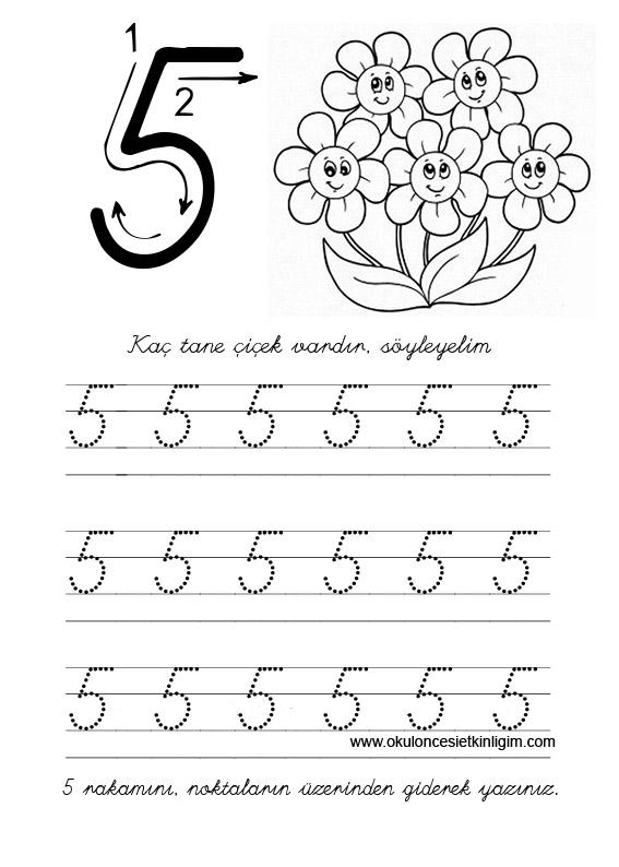 5 Rakamı çizgi çalışması Okul öncesi Etkinlikleri