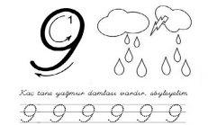 9 Rakamı Çizgi Çalışması