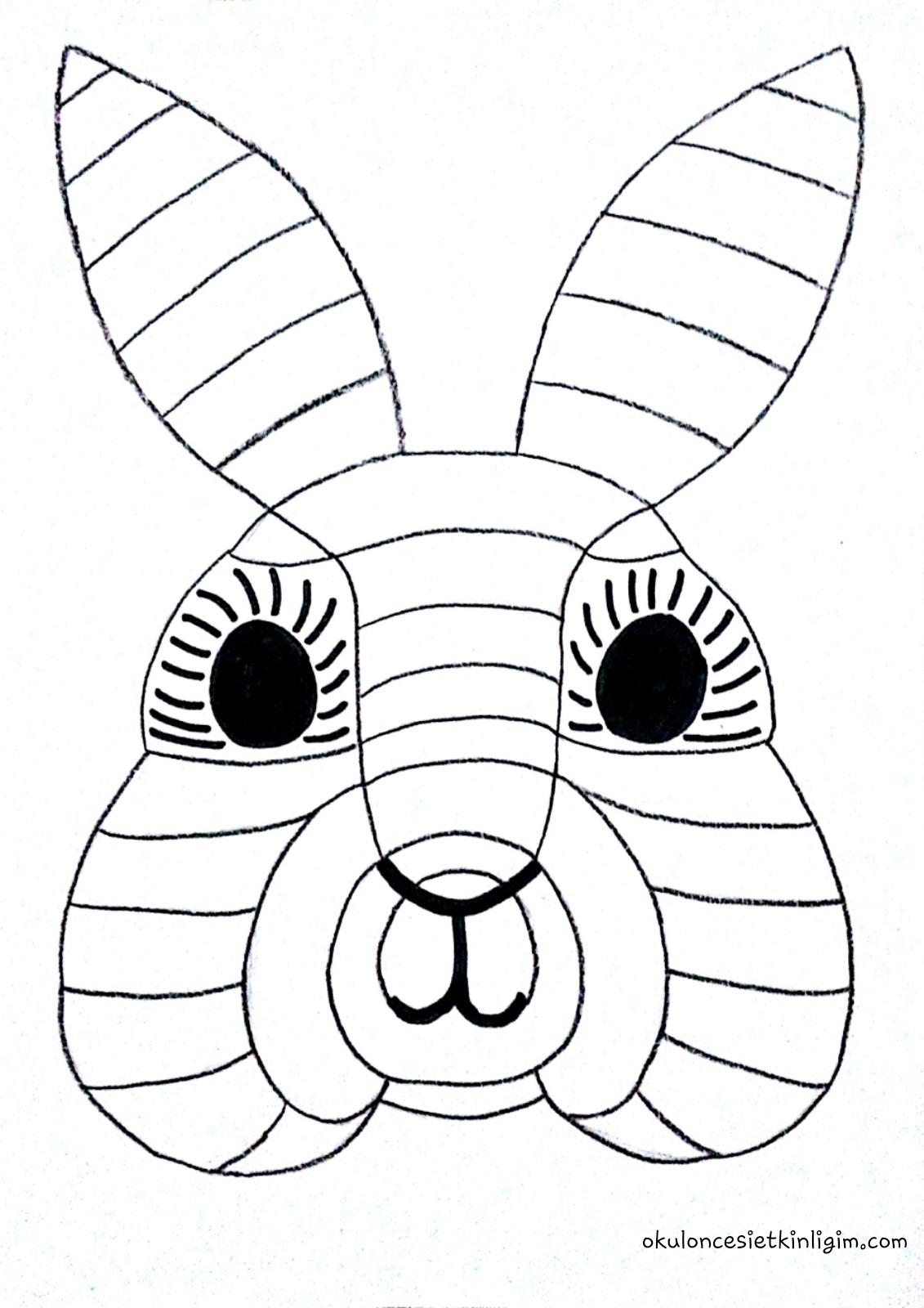 Tavşanlı çizgi çalışması Sanat Etkinliği Okul öncesi Etkinlikleri