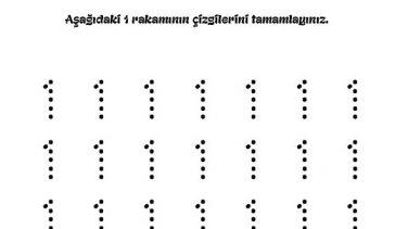 1 Den 9 A Dik Yazı Rakam çizgi çalışmaları Okul öncesi Etkinlikleri