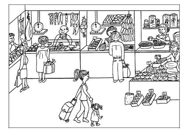 Okul öncesi Alışveriş Boyama Sayfaları Okul öncesi Etkinlikleri